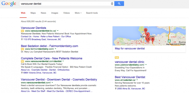Search ads above and below a Google search