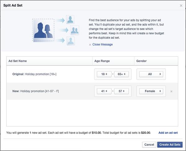 Facebook tests split testing a/b testing Facebook ads