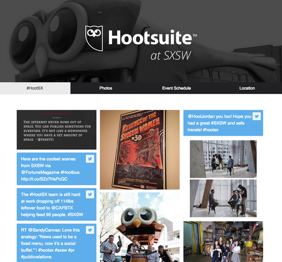 Hootsuite SXSW photo campaign collected UGC into an appealing board