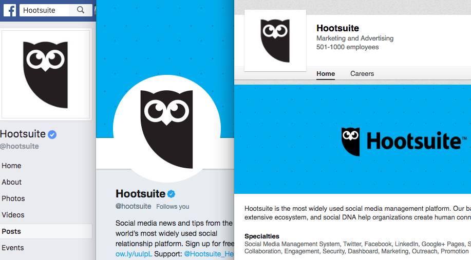 Hootsuite's Facebook, Twitter, and LinkedIn social media profiles all with the same logo