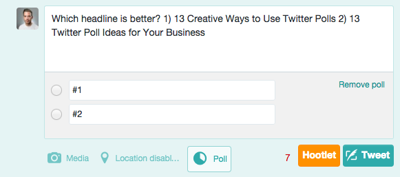 Headline Options Twitter Poll