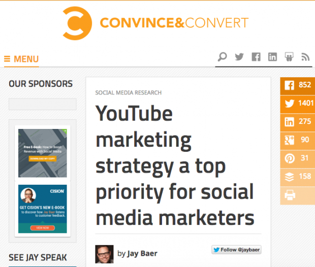Jay Baer - YouTube marketing stratey a top priority for social media marketers