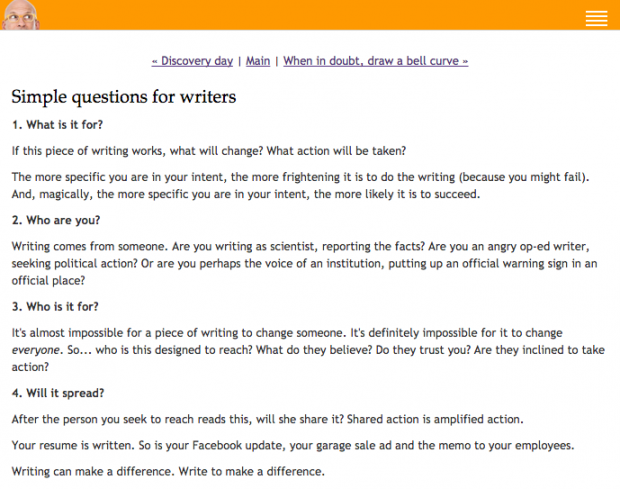 Seth Godin - Simple questions for writers