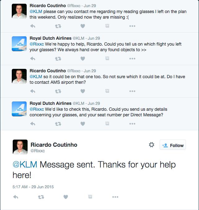 KLM social media customer service twitter