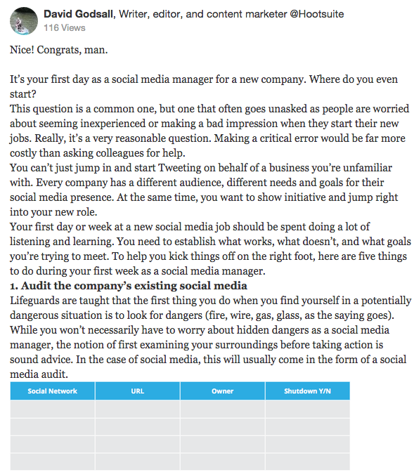 hootsuite's answer on quora for social media and seo