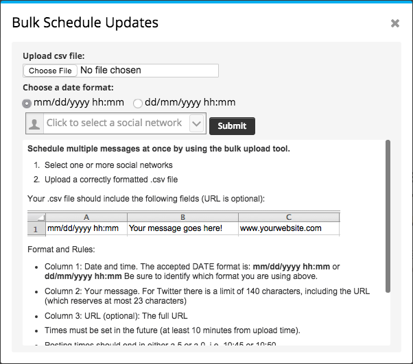 hootsuite bulk schedule tool for social media scheduling
