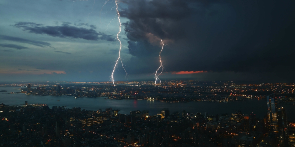 lightening storm over a city