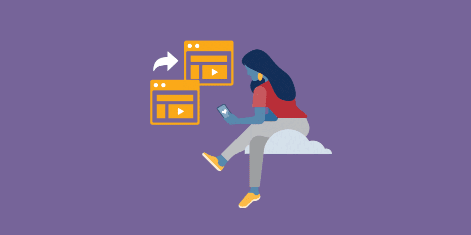 illustration of a woman in the clouds looking at Instagram