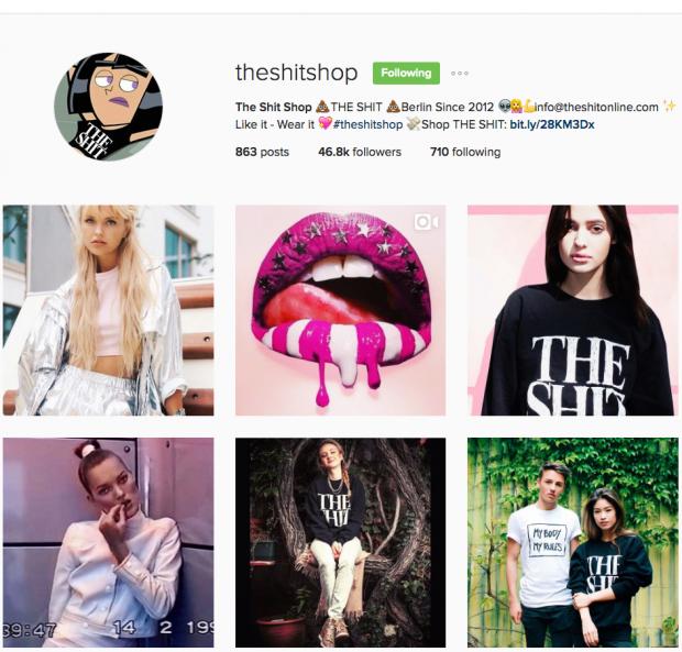 deutsche Unternehmen auf Instagram - The Shit Shop