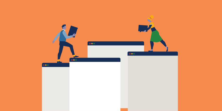 illustration of two employees carrying social media guidelines