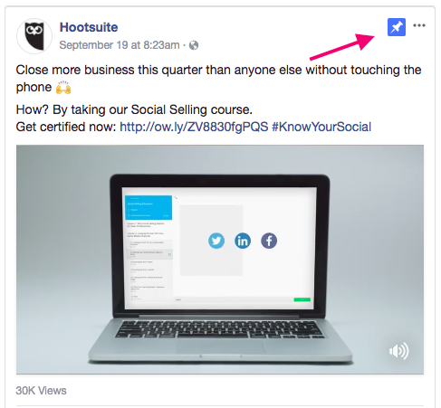 Screengrab of a Facebook post from Hootsuite
