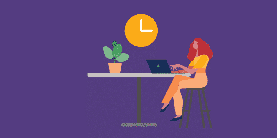 female social media manager working on her laptop with a clock in the background