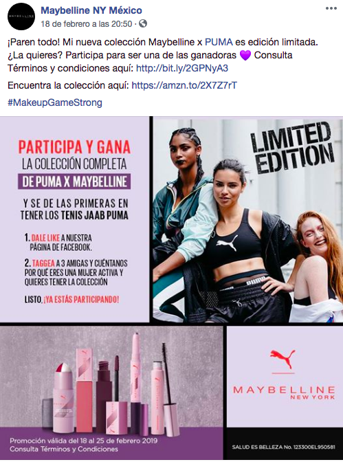 Campaña social selling Maybelline México