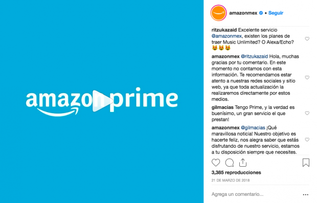 Campaña social selling Amazon Prime