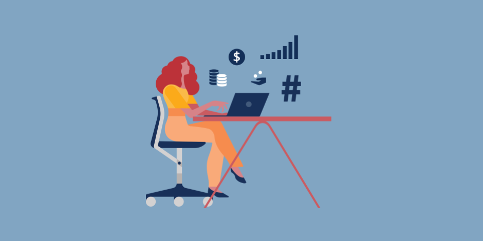Illustration of a woman on a computer surrounded by financial and social media icons