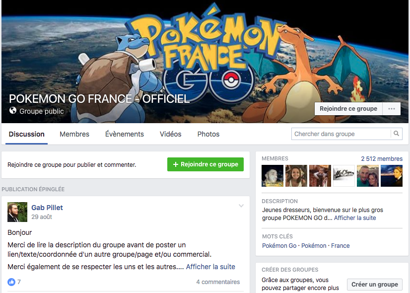 Groupe Facebook Pokemon Go