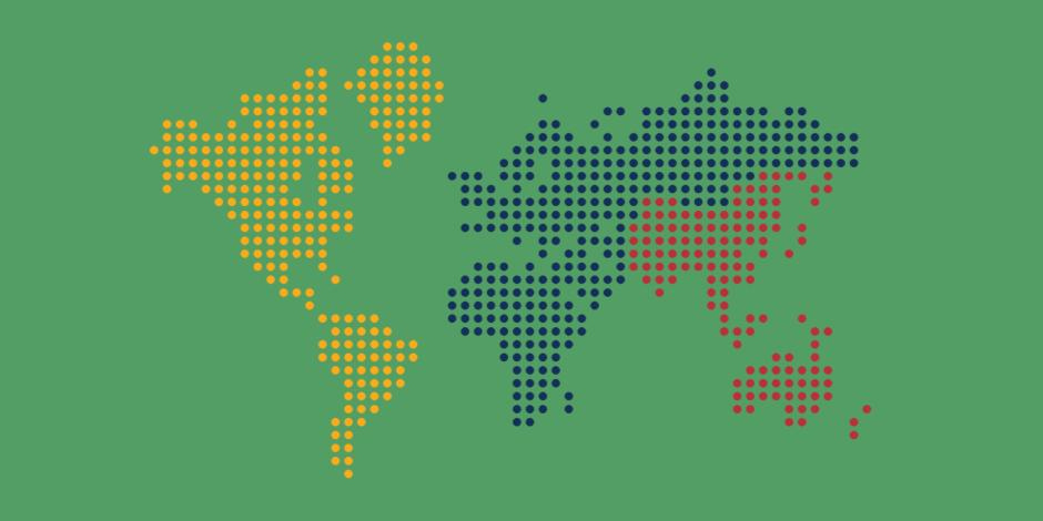 map of the world rendered in tiny dots on green background