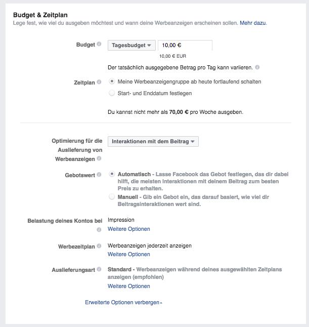 Facebook Werbeanzeigen Budget