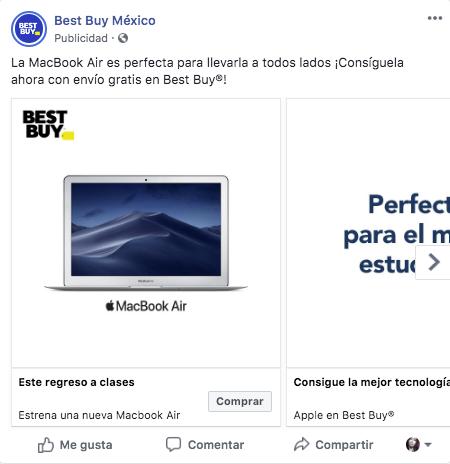 Este ejemplo de anuncios en secuencia de Best Buy México nos demuestra la aplicación de este formato