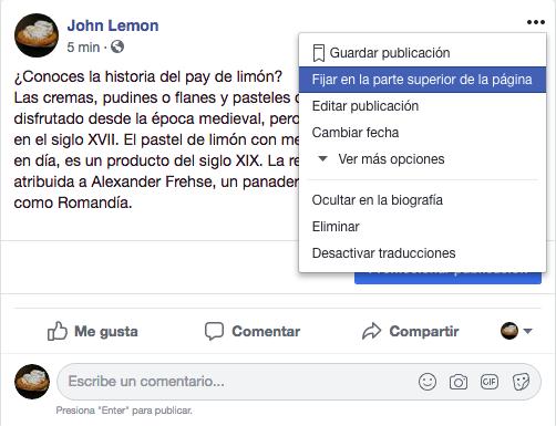 Página de facebook - Cómo fijar una publicación a tu página de Facebook