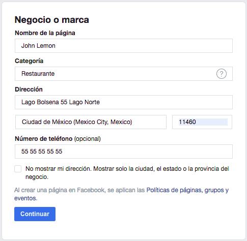 Página de facebook - Cómo añadir información de negocio a tu página de Facebook