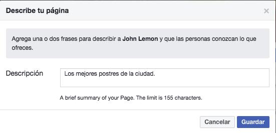 Página de facebook - Cómo crear una descripción para tu página de Facebook
