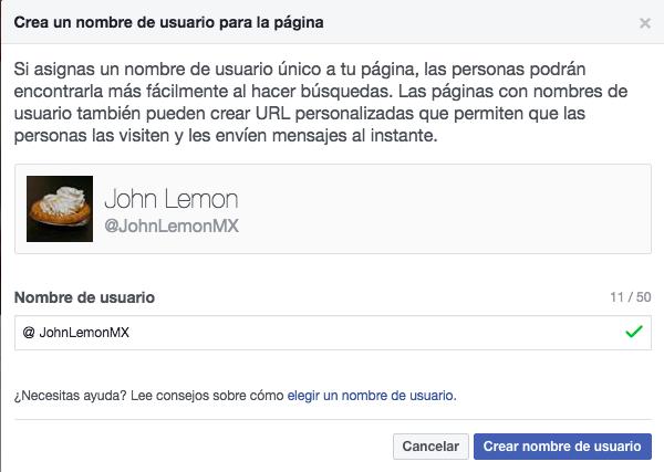 Página de facebook - Cómo crear un nombre de usuario para tu página de Facebook