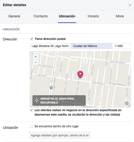 Página de facebook - Cómo agregar tu ubicación a Facebook