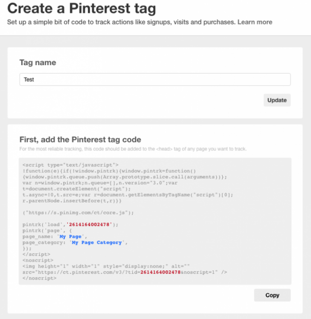 Publicité sur Pinterest