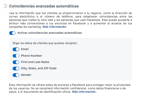 Facebook Pixel - coincidencias avanzadas automáticas