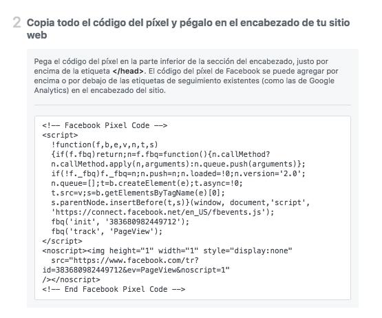Facebook Pixel - Copia y pega el código base del píxel