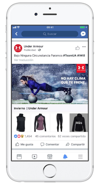 Ejemplos de Facebook Pixel - Under Armour