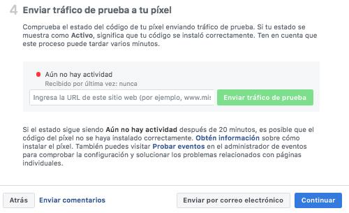 Facebook Pixel - Enviar Prueba de Tráfico
