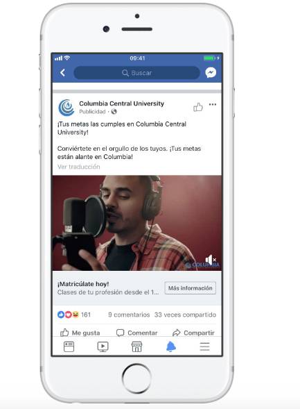 Ejemplos de Facebook Pixel Columbia Central University