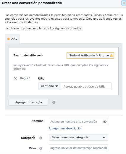 Facebook Pixel - crea una conversión personalizada