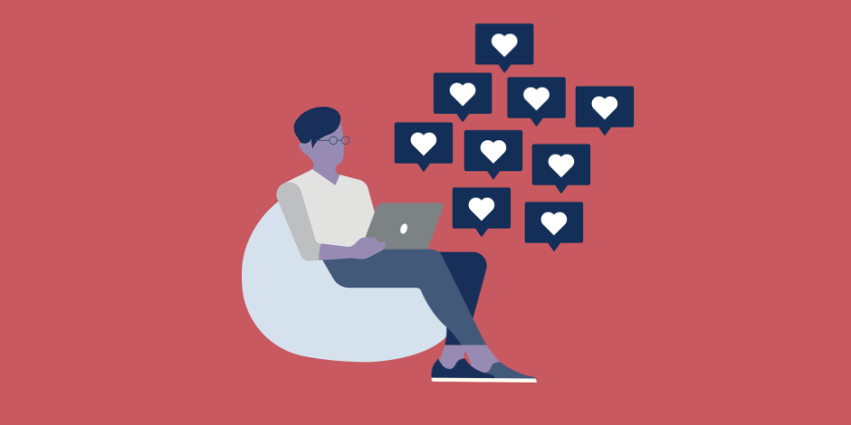 illustration of man working on laptop with a lot of Instagram hearts coming out of it