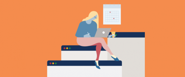 illustration of woman working on laptop with calendar on the wall behind her