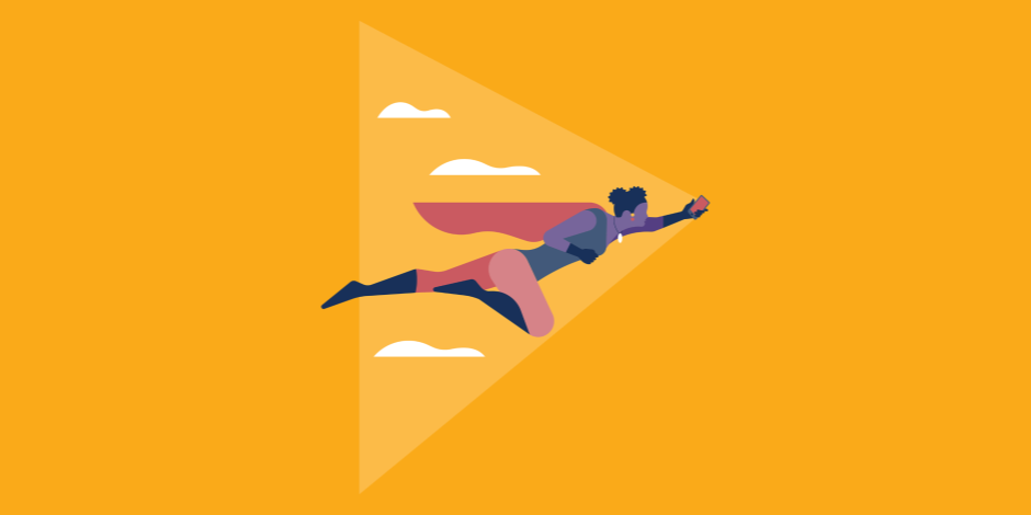 Illustration of a superhero flying through the sky