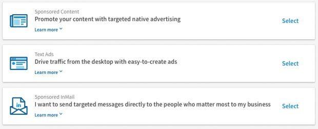 Publicités sur LinkedIn - Ad type