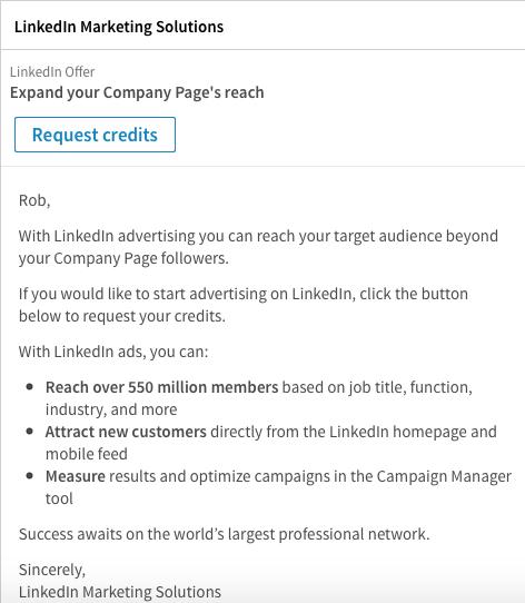 Publicités sur LinkedIn - Sponsored Inmail