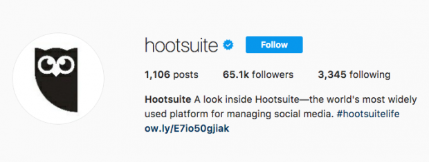 Image of Hootsuite's blue verification badge on Instagram