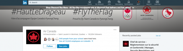 Air Canada LinkedIn Company Page
