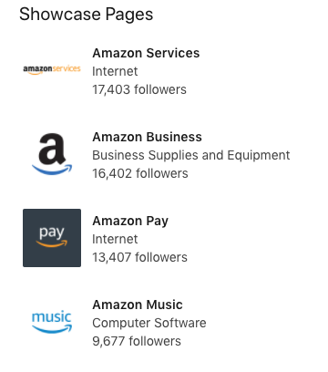 Screenshot of Amazon showcase pages on LinkedIn