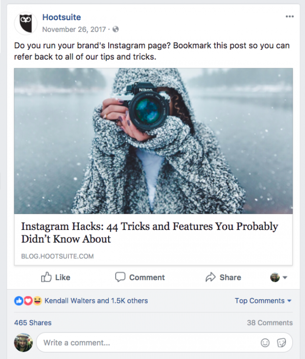 Screenshot of Facebook post featuring an article on Instagram Hacks