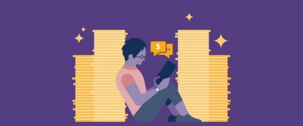 male youth sitting between two columns of stacked gold coins, using tablet, a speech bubble with a dollar sign