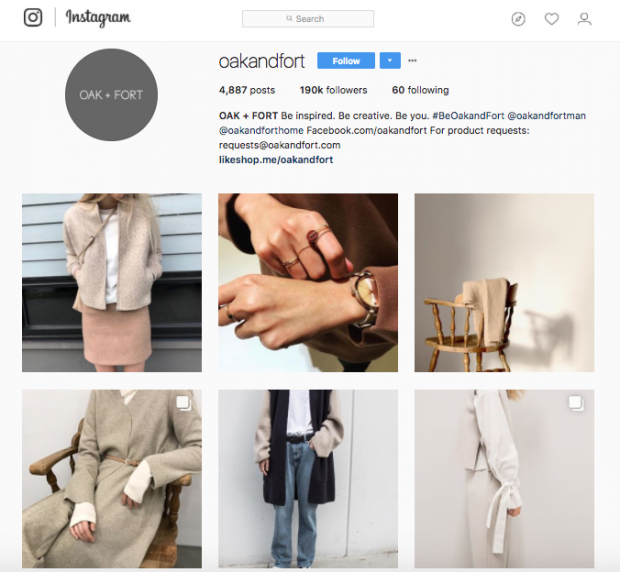 Oak and Fort Instagram page
