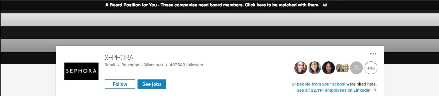 Screenshot of Sephora Company Page on LinkedIn