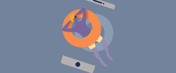 Illustration of a man lying on a pool float atop an iPhone