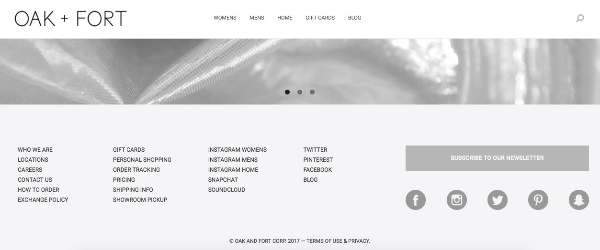 Oak and Fort website theme