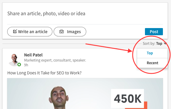 "Screenshot of how to switch your LinkedIn feed settings to ""recent"" instead of ""top"""